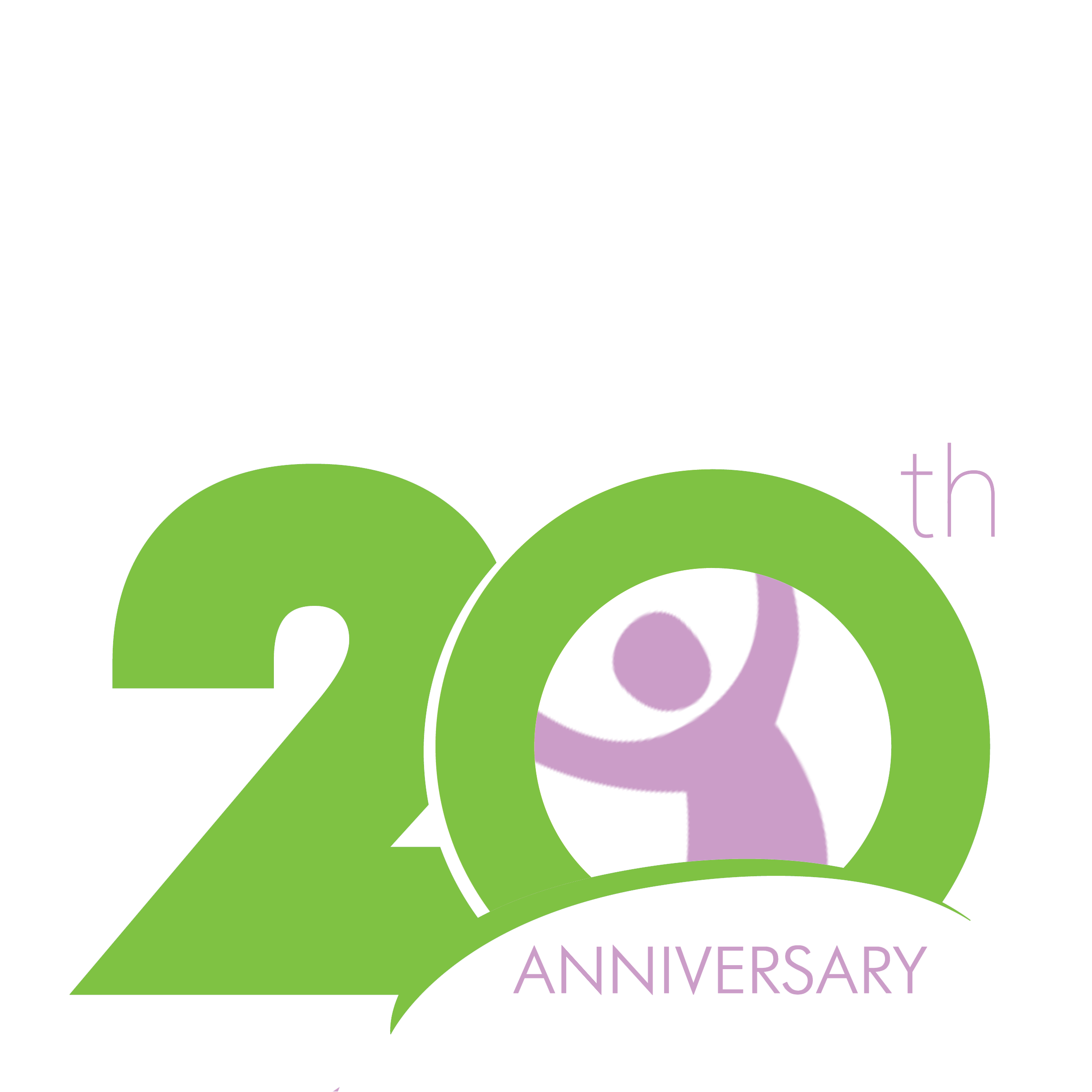 20-year anniversary logo with circle and child shape in the center